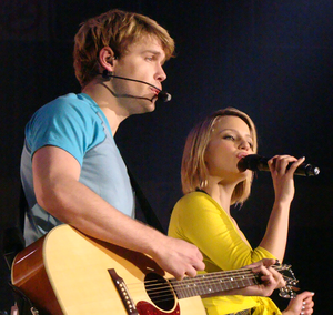 Quinn Fabray - Quinn (right) was romantically linked with Sam Evans (left) early in the second season; they sang two duets together.