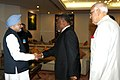"Sam Hinds meeting the Prime Minister, Dr. Manmohan Singh, at the inauguration of the ""International Seminar on Energy Access"", in New Delhi. The Union Minister for New and Renewable Energy, Dr. Farooq Abdullah is also seen.jpg"