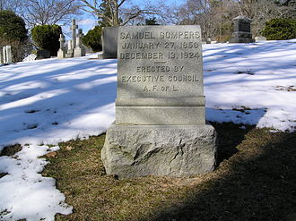 Timeline of labor issues and events - Samuel Gompers Gravesite in Sleepy Hollow Cemetery