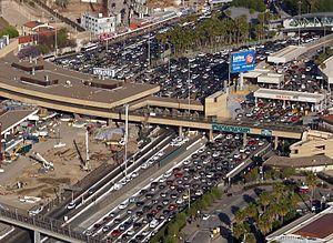San Ysidro, San Diego - Aerial view of traffic at the United States-Mexico border.