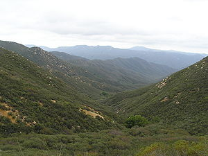 Santa Ana Mountains - San Mateo Canyon Wilderness, southern Santa Ana Mountains, April 2007. Note the chaparral vegetation type, typical of the range