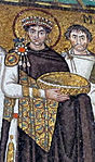 San vitale, ravenna, int., presbiterio, mosaici di giustiniano e la sua corte 03 giustiniano.jpg