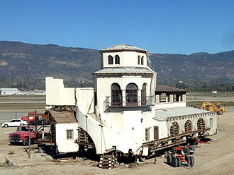 Santa Barbara Municipal Airport - The original terminal building being prepared for moving and integration with the new terminal building