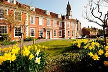 Sarum College surrounded by daffodils
