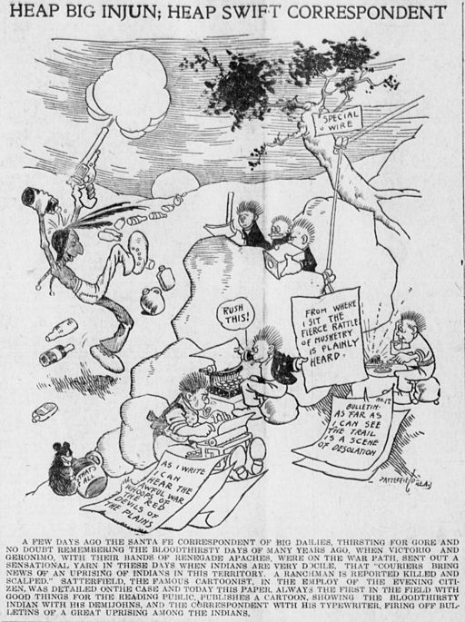 Satterfield cartoon on sensationalism and media stereotypes of the Apache