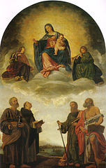 Madonna and child in heaven with four saints