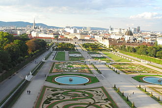 Österreichische Galerie Belvedere - View over the park of the Belvedere