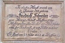 Gedenktafel am Geburtshaus Friedrich Schneiders in Waltersdorf (Großschönau)' (Quelle: Wikimedia)