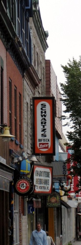 English-speaking Quebecers - Schwartz's Hebrew  Delicatessen on The Main