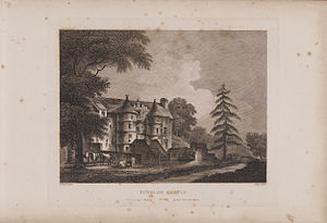Rowallan Castle - Engraving of the castle by James Fittler in Scotia Depicta, published 1804