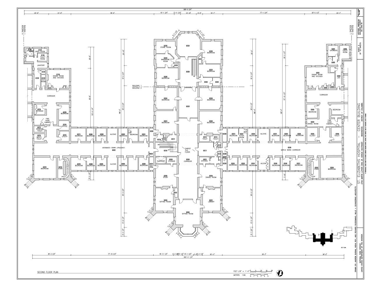 File second floor plan st elizabeths hospital center building 539 559 cedar drive for Who designed the basic plan for washington dc