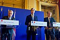 Secretary Kerry Addresses Reporters Alongside French Foreign Minister Ayrault and British Foreign Secretary Hammond After an E4+1 Meeting (25460960320).jpg