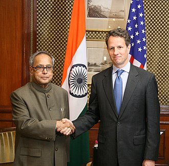 Timothy Geithner - Pranab Mukherjee, then India's finance minister, with Geithner in 2010