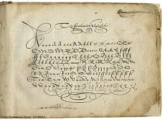 Shakespeare's handwriting - This secretary alphabet is in a penmanship book by Jehan de Beau-Chesne and John Baildon published in 1570, when Shakespeare would have been five or six years old. This may have been the edition he studied as a child in grammar school.
