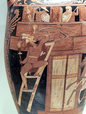 Seven Against Thebes - Scene from the Seven against Thebes: Capaneus scales the city wall of Thebes, Campanian red-figure amphora, ca. 340 BC, Getty Villa (92.AE.86)