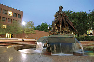 "Stephen F. Austin State University - The statue of Stephen F. Austin, popularly known as ""Surfin' Steve"" due to its appearance of Austin riding on top of the water, is located in the middle of the campus."