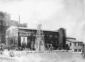 Baker Hughes - Hughes Tool Company's oil drill manufacturing plant in downtown Houston, 1915.