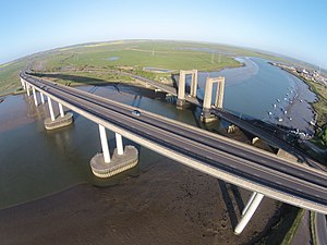 Sheppey Crossing - Aerial view of the Sheppey Crossing, with the older Kingsferry Bridge behind