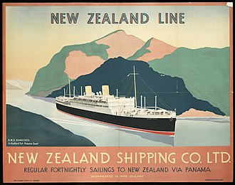 New Zealand Shipping Company - Image: Shipping poster, 1930s (6297424880)