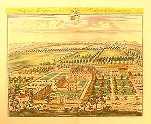 Shipton Moyne - 'Shipton Moyne, the Seat of Walter Estcourt Esq.' by Jan Kip and Leonard Knyff, 1709