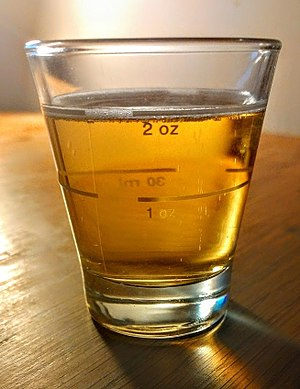 Fluid ounce - An example of a 2 fl.oz shot glass in British Imperial fluid ounces