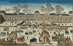 The storming of Tuileries Palace. Groups of soldiers are outside a palace and there is lots of smoke.