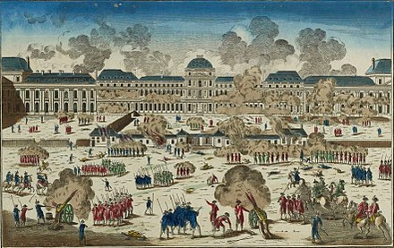 The Storming of the Tuileries Palace, on 10 August 1792 (Musee de la Revolution francaise) Siege des Tuileries, 1792, Musee de la Revolution francaise - Vizille.jpg