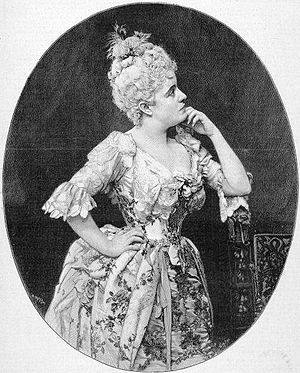 Manon - American soprano Sibyl Sanderson as Manon in 1888.
