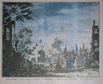 Isabella entering the rubble of Ostend; she wept at the desolation Siege of Ostend 03.jpg