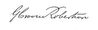 George Croom Robertson - Image: Signature of George Croom Robertson