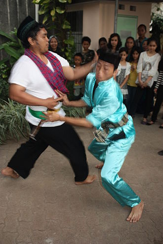 Betawi people - Silat Betawi demonstration in Jakarta.