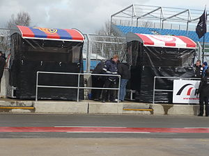 Superleague Formula - The pit wall of the GU-Racing team at Silverstone Circuit during its 2010 round