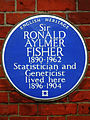 Sir Ronald Aylmer Fisher 1890-1962 Statistician and Geneticist lived here 1896-1904.jpg
