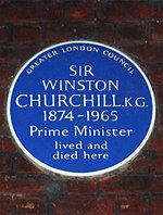Sir Winston Churchill KG 1874-1965 Prime Minister lived and died here.jpg
