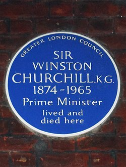 Sir winston churchill kg 1874 1965 prime minister lived and died here