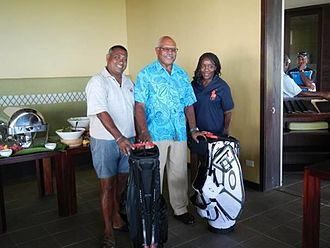 Sitiveni Rabuka - U.S Ambassador to Fiji Frankie Reed (r) with Sitiveni Rabuka (c).