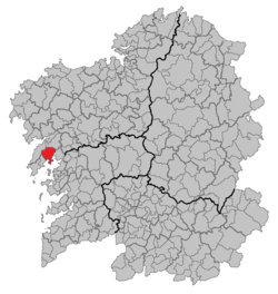 Location of Boiro within Galicia