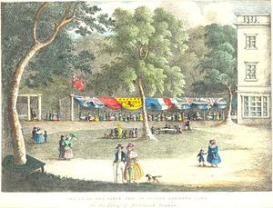 Sydney Gardens - Sketch of the Fancy Fair at Sydney Gardens, Bath, for the Relief of Distressed Seamen. Painted around 1836 by an unknown artist.