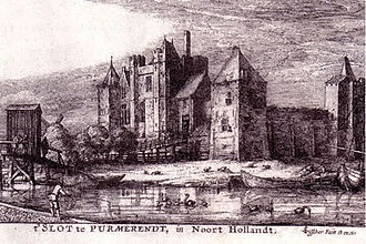 Purmerend - Medieval drawing of the fortified castle Slot Purmersteijn.