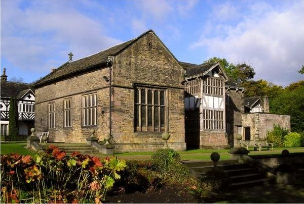 Smithills Hall is one of several medieval manor houses in Greater Manchester to be protected as a scheduled monument. Smithills Hall in 2004.jpg