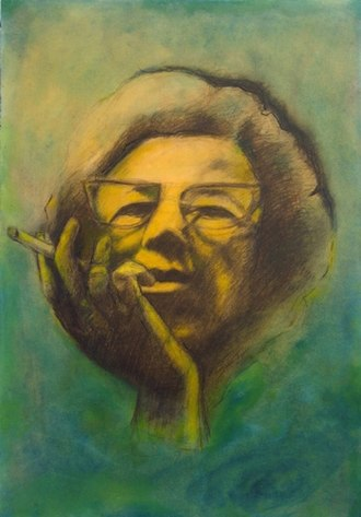 """Shy Abady - Smoke, 2004, mixed media on paper, on wood, 49.5x34.5cm, from the series, """"Hannah Arendt Project"""""""