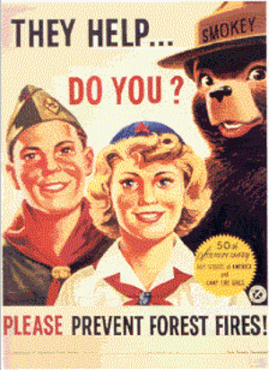 Scouting in popular culture - Smokey Bear with members of the Boy Scouts of America and the Camp Fire Girls celebrating the 50th anniversary of their founding in 1910.