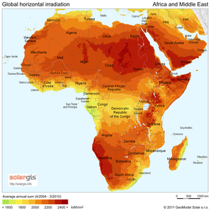 Renewable energy in Africa - Solar Radiation Map of Africa