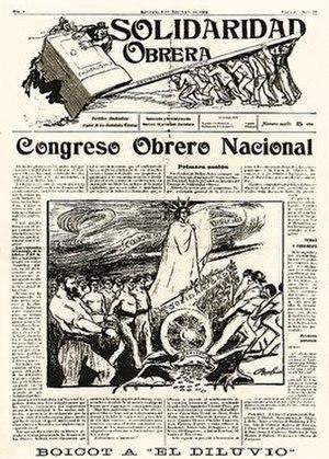 Solidaridad Obrera (periodical) - Front page of the 4 November 1910 issue.