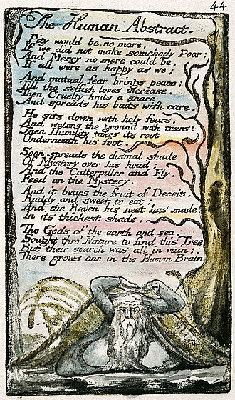 "Pity - The Human Abstract, a poem in William Blake's collection Songs of Innocence and of Experience, in which he proclaims ""Pity would be no more, / If we did not make somebody Poor"" (1-2). This version is copy L created in 1795 and currently held by the Yale Center for British Art."