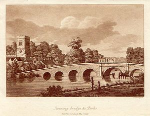 Sonning - Print of Sonning Bridge (1799) with the tower of St Andrew's Church, Sonning, in the background.