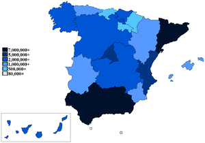 Ranked lists of Spanish autonomous communities - Map of each community's population as of 2011