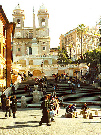 Trinità dei Monti - The church and the Spanish Steps from Piazza di Spagna