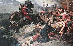 Stückelberg Ostatni rycerz z Hohenrätien rzuca się w przepaść Via Mala, 1883