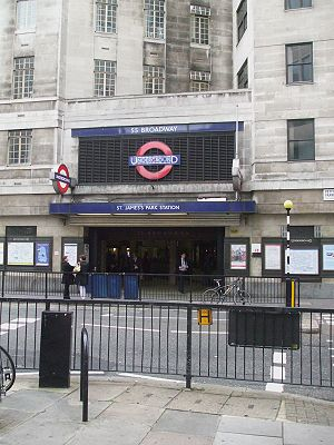 St. James's Park tube station - Entrance from Petty France